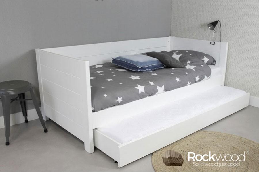 Kinderbed Met Extra Bed.Bedbank Sam Wit 90x200 100 Massief Grenen Bedbanken Rockwood