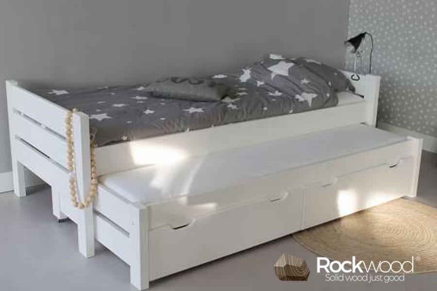 Kinderbed Met Extra Bed.Kinderbed Combi Wit 100 Massief Grenen Kinderbedden Rockwood